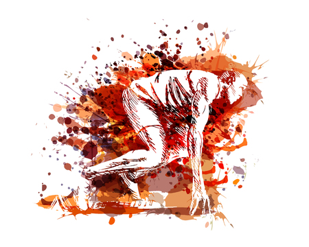 Vector illustration of a runner at start Çizim