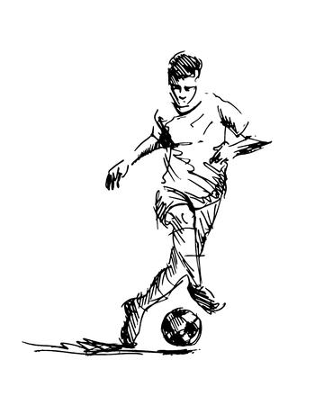 Ręka szkic piłki nożnej. Ilustracja wektorowa
