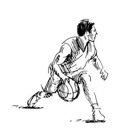 Hand sketch of basketball player. Vector illustration Ilustração