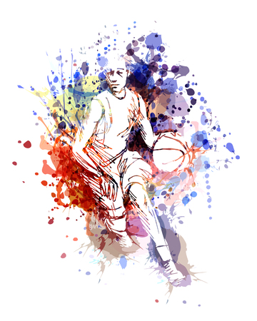 Vector color illustration of basketball player