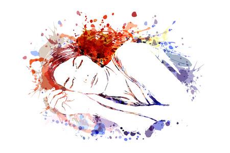 Ilustracja wektorowa kolor śpiącej kobiety