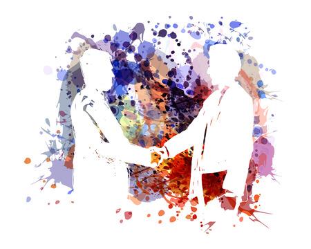 Vector color illustration of two businessmen