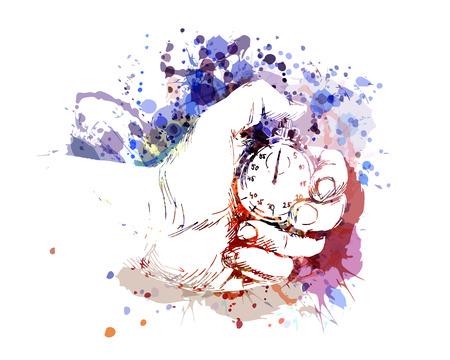 Vector color illustration of hand with stopwatch Ilustração