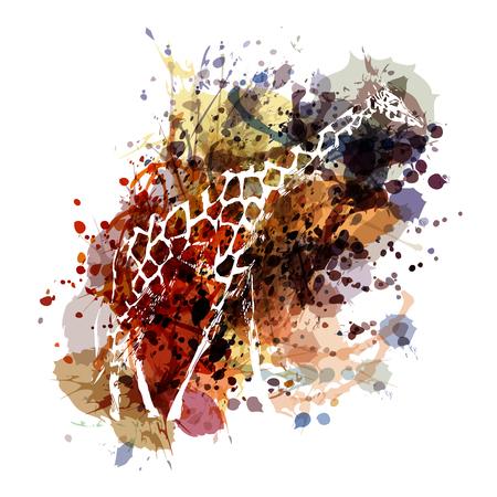 Vector color illustration of a giraffe Ilustração
