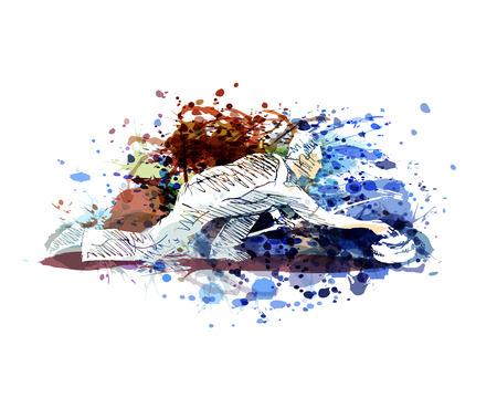 Vector kleurenillustratie van krullende speler Stock Illustratie