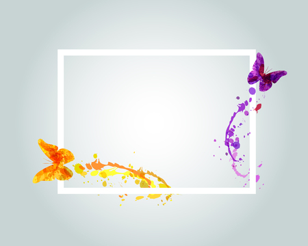 Vector frame with watercolor butterflies