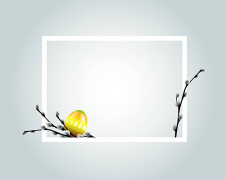 easter frame template with egg and branches on light background. Vector illustration.