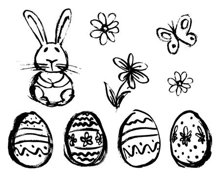 Hand Sketch of Easter Elements. Vector illustration Ilustração
