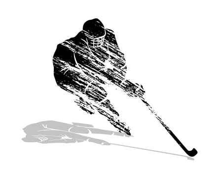 Silhouette hockey player illustration