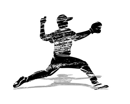 Silhouette baseball player illustration Çizim