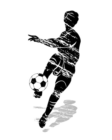 grunge silhouette soccer player Vector illustration.