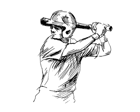 Hand sketch baseball player illustration Stock Illustratie