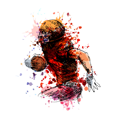 Colored sketch of an American football player vector illustration. Vectores