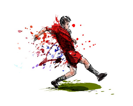Colored hand sketch of a soccer player vector illustration.
