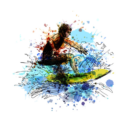 Colored hand sketch of a surfer vector illustration.