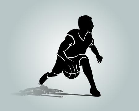 Silhouette of basketball player. Stock Illustratie