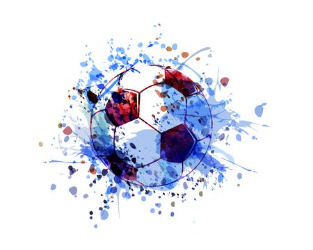 Vector watercolor illustration of a soccer ball. Vettoriali