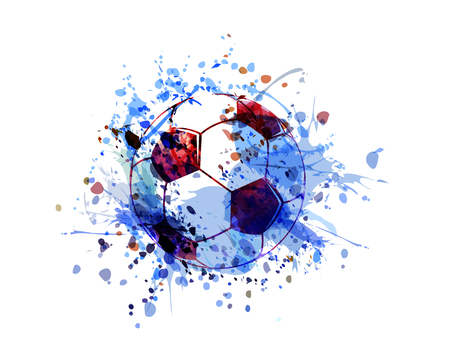 Vector watercolor illustration of a soccer ball. Ilustração
