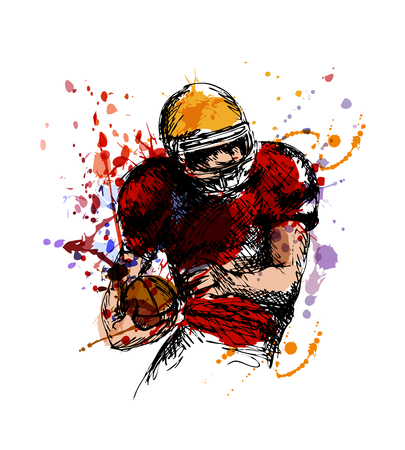 Colored sketch american football player. Vector illustration
