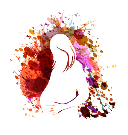 White vector silhouette of a pregnant woman on watercolor background