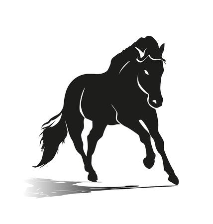 Silhouette vettoriali di un cavallo in corsa