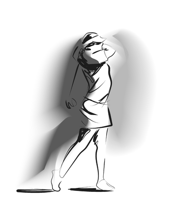 Vector illustration of a woman playing golf