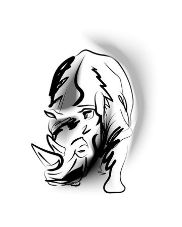Vector sketch of rhino Banco de Imagens - 106905823