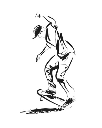 Vector sketch of skateboarder