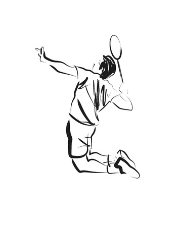 Vector sketch of badminton player