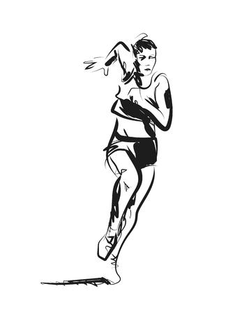 Vector sketch of running woman Ilustração