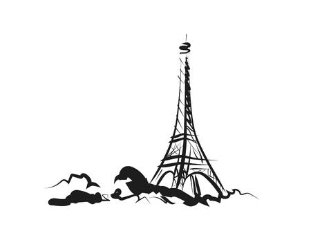 Vector sketch of Eiffel tower Stock Illustratie