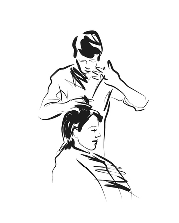 Vector sketch hairdresser
