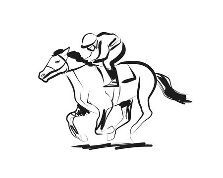 Vector ink schets ruiter met een paard