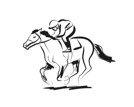 Vector ink sketch rider with a horse 일러스트