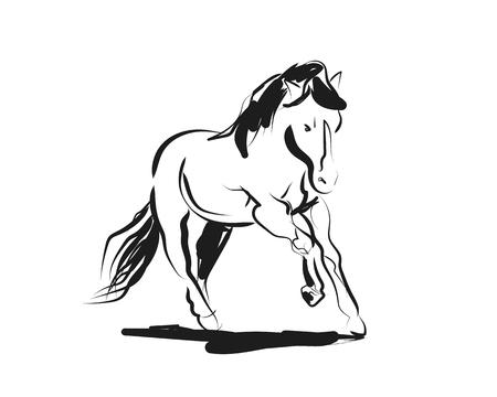 Vector ink schets van een lopend paard