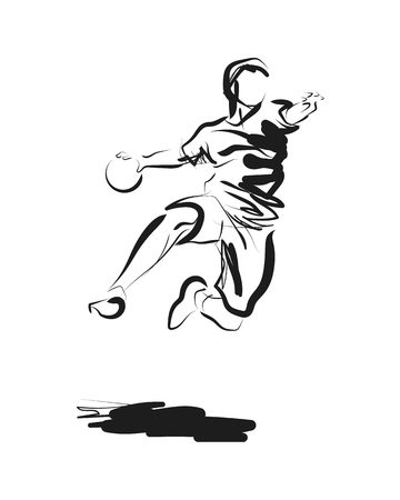 Vector ink sketch of a handball player