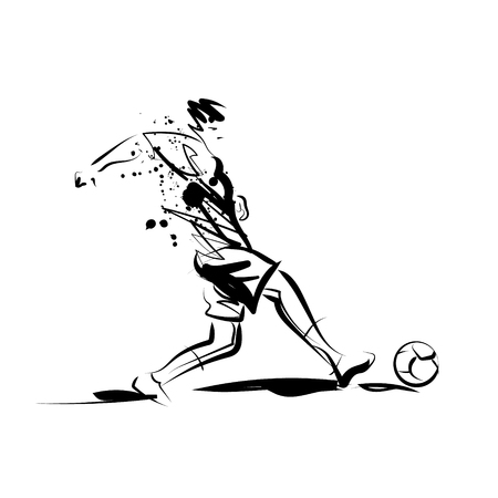 Vector ink sketch of a soccer player