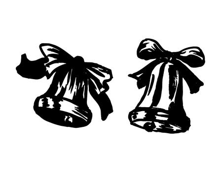 Hand brush sketch of a Christmas bell. Vector illustration Banco de Imagens - 109165395
