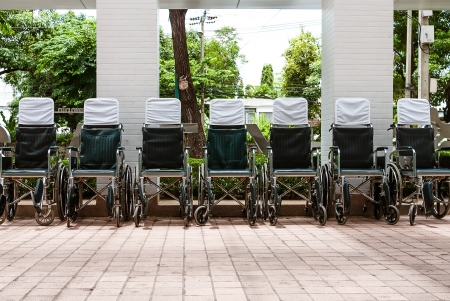 invalidity: Wheelchairs parked outside a hospital