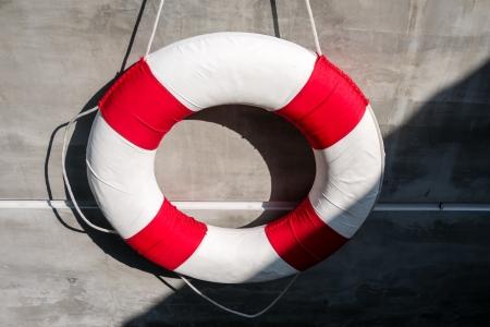 life saving: Hanging old life saving ring