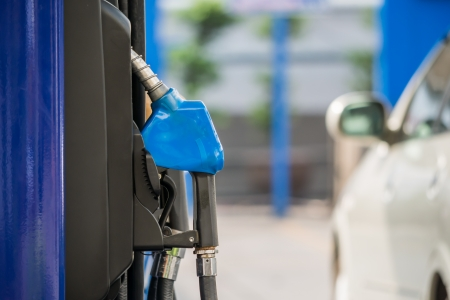 unleaded: close up of a gas station