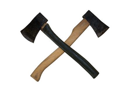 double cross: Cross of double axes Stock Photo