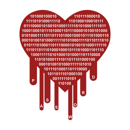 vulnerable: OpenSSL Heartbleed security breach symbol Stock Photo