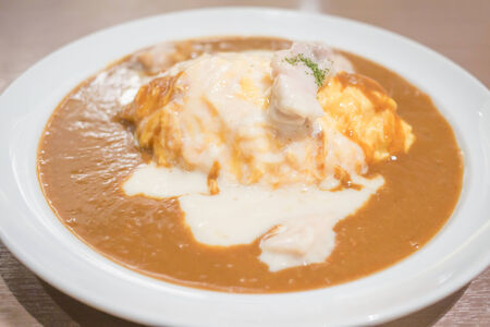 creamed: Creamed chicken omelet curry Stock Photo