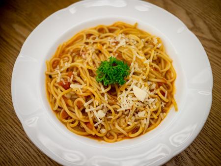 spaghetti tomato cream sauce Фото со стока