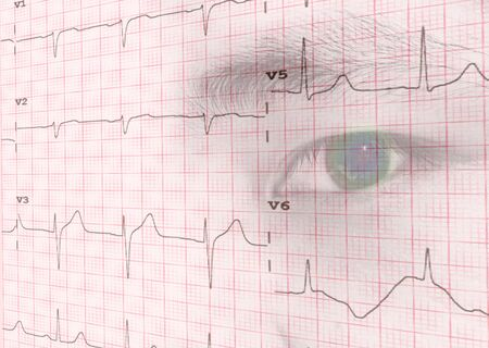 Close-up of an electrocardiogram with eye human background, Medical and healthcare concept Zdjęcie Seryjne