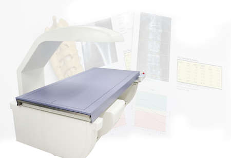 Close up Bone densitometry machine .Surface blurry image and Image contains excessive noise, film grain.
