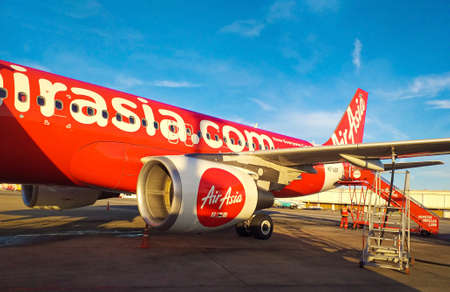 BANGKOK, THAILAND - July 19, 2019: Airbus A320 of AirAsia at Don Mueang International Airport , Thailand ,AirAsia is the largest low-cost airline in Asia. Editorial