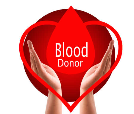 Save blood donor day background with hands .Blood donor day campaign for donation charity concept with red drops heart and hands. Giving blood saves lives.