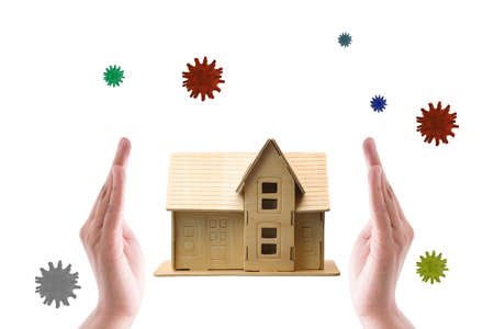 House protected virus by hands - Concept stay at home and clean your hand.